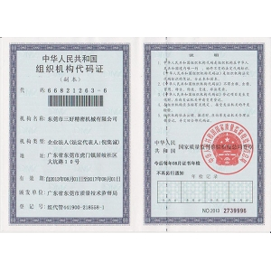 Nationally approved organization code certificate